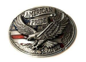 * Classic Soaring EAGLE AMERICAN PRIDE BELT BUCKLE Full Metal USA