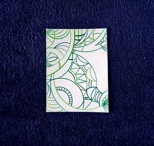 Geometric Abstract Drawing in Green Miniature Artwork ACEO Art 2.5 x 3.5 inches