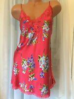VIctorias Secret SILK Vintage NWOT Red Blue Floral Lace M chemise Slip Cami top