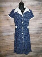 Vintage 80s XS Blue White Polka Dot Dress Button Front Short Sleeve Nautical XS