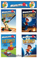I Can Read,Level 2 Flat Stanley At Bat,Firehouse,Goes Camping+ 4 Paperback Set
