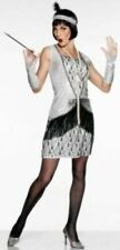Silver 1920s All That Jazz Costume Flapper Tassle Dress Outfit Fancy Dress 12-14