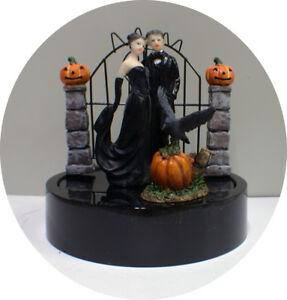 Halloween Cake Topper Black Gothic Black Sexy Groom top Raven Haunted Pumpkin