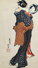 ANTIQUE JAPANESE WOODBLOCK PRINT A GEISHA WITH MIRROR