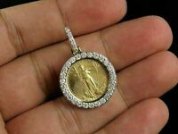 14K Yellow Gold Over 0.55 Ct Round Diamond Statue of Liberty Lady Coin Pendant