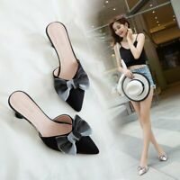 Fashion Womens Bow Cone Heel Sandals Pointed Toe Mules Pumps Slipper Shoes 4.5-9
