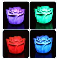 7 Colors Flameless Changing Rose Flower Candle Sound Sensor LED Night Light PB