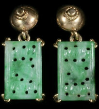 Antique Art Deco  Carved Jade Jadeite 14K Dangle Earrings