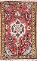 Hamadan Area Rug Hand-Knotted Oriental Floral Vintage Wool 2 x 3 Carpet
