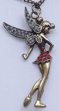 collier pendentif fée relief couleur bronze strass diamant et couleur rubis 556