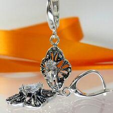 A563 Filigrane Ornament Ohrringe 925 Silber Schmuck Kristallstein Jugendstil Neu