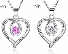 """Silver Crystal Heart Necklace """"I want to tell you I love you"""" Valentines 609"""