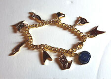 Star Trek Gold {lated Charm Bracelet with 9 Metal Charms- FREE S&H