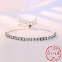 925 Sterling Silber Damen Armreif Zirkonia Tennis Armband women silver bracelet.