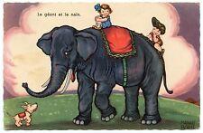 MARGRET BORISS . Le géant et le nain. Eléphant. Elephant. Chien. Dog. Enfants