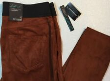 NEW INC Suede Pants Size 4 Small S Rust Brown Pull On Elastic Waist Skinny Leg