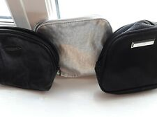 3x Small Make Up Bags, 2x Black And 1x Silver