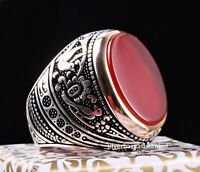 Turkish 925 Sterling Silver Red Agate Aqeeq Stone Mens Solid Ring ALL SİZE 608