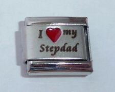 I LOVE MY STEPDAD Italian Charm Red Heart 9mm Classic Size E374 Step Dad Father
