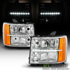 2007-2013 GMC Sierra 1500 2500HD 3500HD LED DRL Headlights Headlamps Left+Right