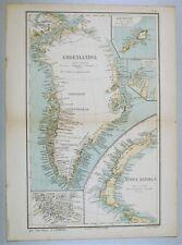Stampa cartina GROENLANDIA NUOVA ZEMBLA '800 Greenland Map Print