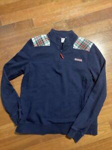 Vineyard Vines Medium Sweater Half Zip Blue Quilted Long Sleeve Pullover Plaid