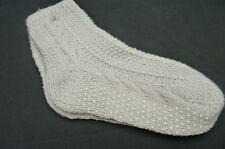 WOMENS SLIPPER SOCKS…SILVER GREY..HAND KNITTED CABLE NON-SKID