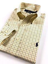 Ralph Lauren Dress Shirt Men's Yellow Checks Broadcloth Easy Care Regular Fit