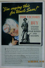 """ORIGINAL COCA COLA AD WAR BONDS AND STAMPS 1943 """"I'M SAYING THIS FOR UNCLE SAM"""""""