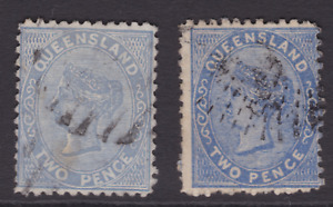 QUEENSLAND EARLY 1879 2d Blue SHADES  QV FIRST SIDEFACE USED  SG 139/140 (LD99)