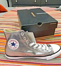 Ladies Converse Chuck Taylor All Star Metallic Silver HiTop Boots UK 7 New £50+