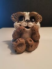 Vintage Max Hindt Art Pottery Carved Sculpture Clay PANDA BEAR  Figure- Signed