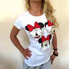estate donna Mickey Minnie Mouse Top T-Shirt Manica Corta Larga Casual Maglietta