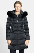 $649 1 Madison Genuine Fox Fur Trim Quilted Down Feather Coat Hood Black XL (G)