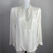 MAJE • Ivory Silk Spot Lace Detail Long Sleeve Blouse • Size 2 • UK 10