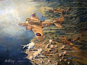 Original Acrylic Painting by P.Hill. Martin Baltimore bomber. RAF North Africa42