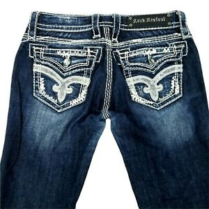 "Rock Revival Jeans Serena Boot Cut Women Size 26 Dark Wash 33"" Inseam Blue Denim"