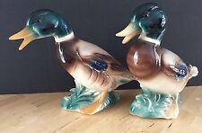 Royal Copley Large Ceramic Mallard Duck Pair Figurines 1960's Male Green MCM
