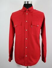 Men's LEVI'S Western Shirt, Size L Large, Red, Cotton, Long Sleeve #KM656