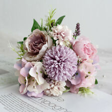 9 Heads Real Touch Artificial Silk Flowers Bridal Wedding Bouquet Home Decor
