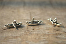 30pcs 3D Kayak Charms silver tone Canoe Small Boat Charm Pendants 18x7mm