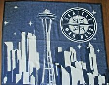 Seattle Mariners Biederlack Blanket MLB Baseball Space Needle Vintage 48x58