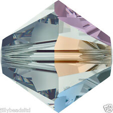 SWAROVSKI 5328 XILION Bicone Beads 4mm: Black Diamond AB (50 Perline)
