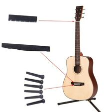 Black Plastic Guitar Nut and Saddle + Bridge Pins For Acoustic Guitar Durable