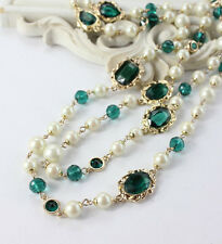 Costume Statement Necklace Long Gold White Pearl Emerald Green Class Vintage JD2