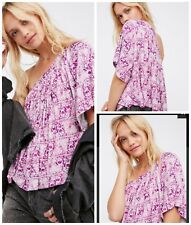Free People Knit Top Ocean Avenue M One Shoulder Fuchsia Blouse top NWOT $78.00