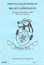 Pontyclun Veteran XV v Welsh Classicals XV 1994 Rugby Prog In Aid of Paul Fowler