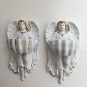 Pair Of Antique Vintage holy water font Italian/Venetian-Gold Paint-Wall Hanging