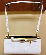Vintage White Vinyl Purse Handbag Gold Tone Details Clutch Shoulder Strap VTG