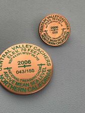 CENTRAL VALLEY CACHERS BENCHMARK GEOCOIN CHALLENGE COIN WITH MATCHING LAPEL PIN